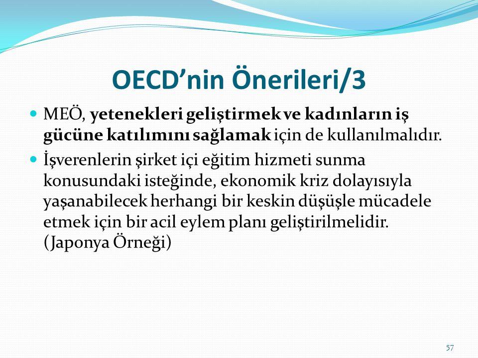 OECD'nin Önerileri/3  MEÖ, yetenekleri geliştirmek ve kadınların iş gücüne katılımını sağlamak için de kullanılmalıdır.  İşverenlerin şirket içi eği