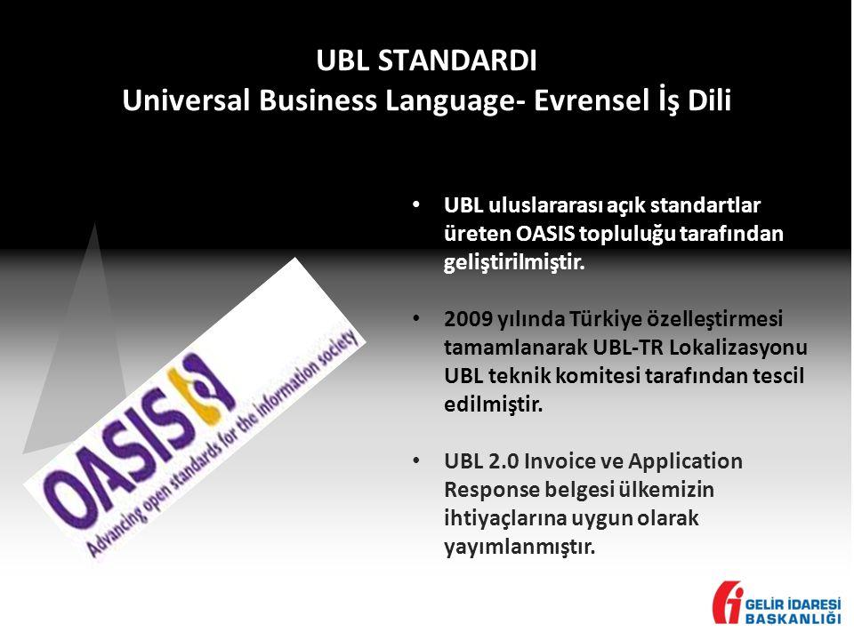 UBL STANDARDI Universal Business Language- Evrensel İş Dili • UBL uluslararası açık standartlar üreten OASIS topluluğu tarafından geliştirilmiştir.