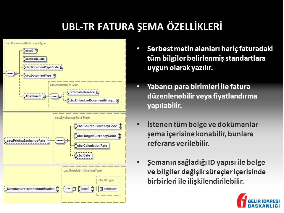 UBL-TR FATURA ŞEMA ÖZELLİKLERİ • Serbest metin alanları hariç faturadaki tüm bilgiler belirlenmiş standartlara uygun olarak yazılır. • Yabancı para bi