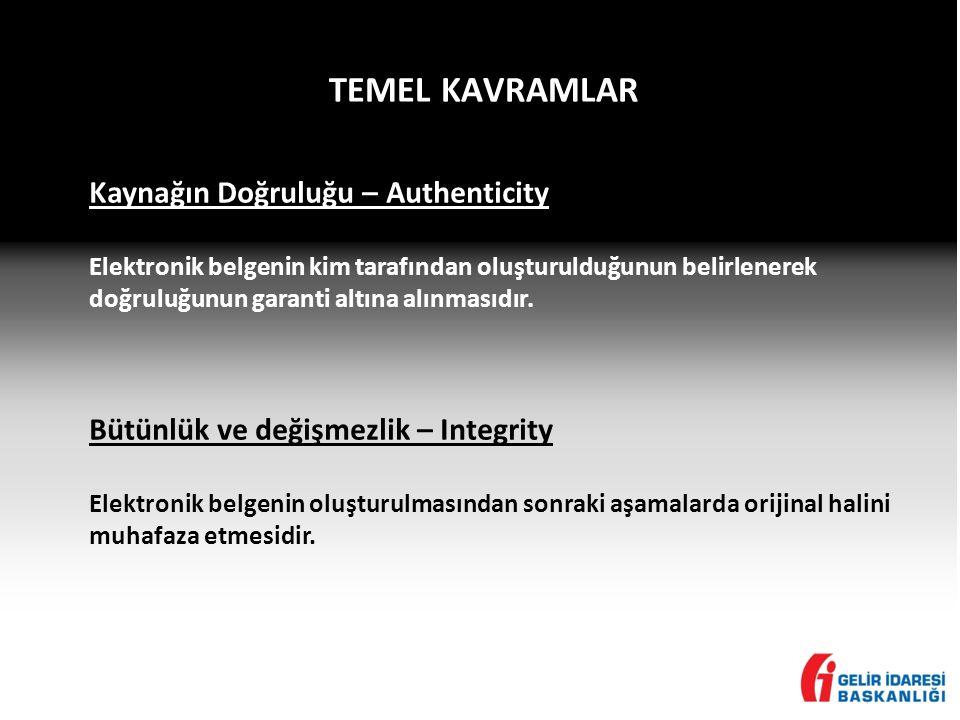 TEMEL KAVRAMLAR Kaynağın Doğruluğu – Authenticity Elektronik belgenin kim tarafından oluşturulduğunun belirlenerek doğruluğunun garanti altına alınmasıdır.
