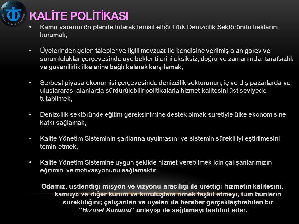 KALİTEPOLİTİKASI KALİTE POLİTİKASI •Kamu yararını ön planda tutarak temsil ettiği Türk Denizcilik Sektörünün haklarını korumak, •Üyelerinden gelen tal