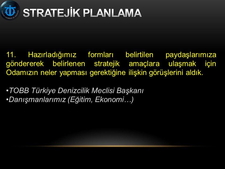 11. Hazırladığımız formları belirtilen paydaşlarımıza göndererek belirlenen stratejik amaçlara ulaşmak için Odamızın neler yapması gerektiğine ilişkin