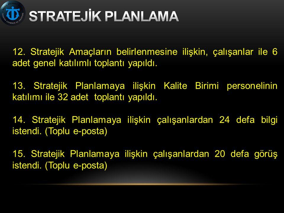 12. Stratejik Amaçların belirlenmesine ilişkin, çalışanlar ile 6 adet genel katılımlı toplantı yapıldı. 13. Stratejik Planlamaya ilişkin Kalite Birimi