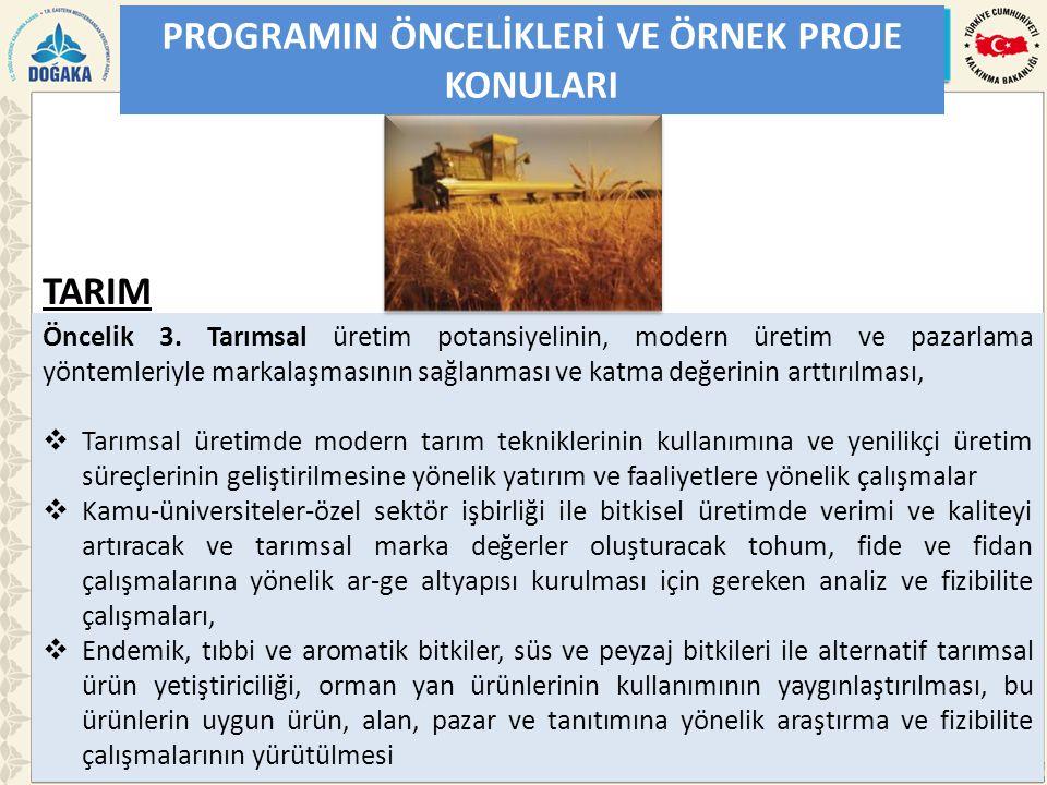 PROGRAMIN ÖNCELİKLERİ VE ÖRNEK PROJE KONULARI Öncelik 3. Tarımsal üretim potansiyelinin, modern üretim ve pazarlama yöntemleriyle markalaşmasının sağl