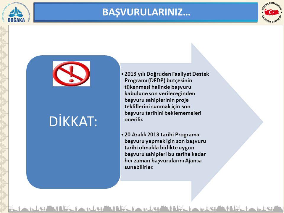 BAŞVURULARINIZ… •2013 yılı Doğrudan Faaliyet Destek Programı (DFDP) bütçesinin tükenmesi halinde başvuru kabulüne son verileceğinden başvuru sahipleri