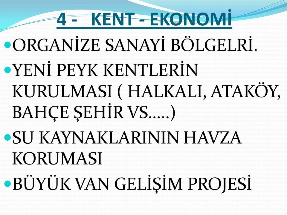 4 - KENT - EKONOMİ  ORGANİZE SANAYİ BÖLGELRİ.