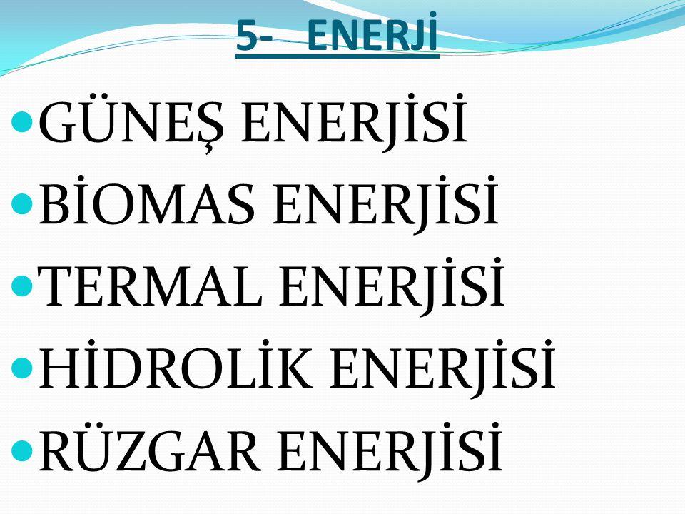 5- ENERJİ  GÜNEŞ ENERJİSİ  BİOMAS ENERJİSİ  TERMAL ENERJİSİ  HİDROLİK ENERJİSİ  RÜZGAR ENERJİSİ
