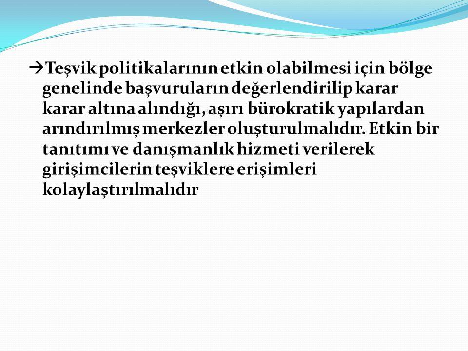  Teşvik politikalarının etkin olabilmesi için bölge genelinde başvuruların değerlendirilip karar karar altına alındığı, aşırı bürokratik yapılardan arındırılmış merkezler oluşturulmalıdır.