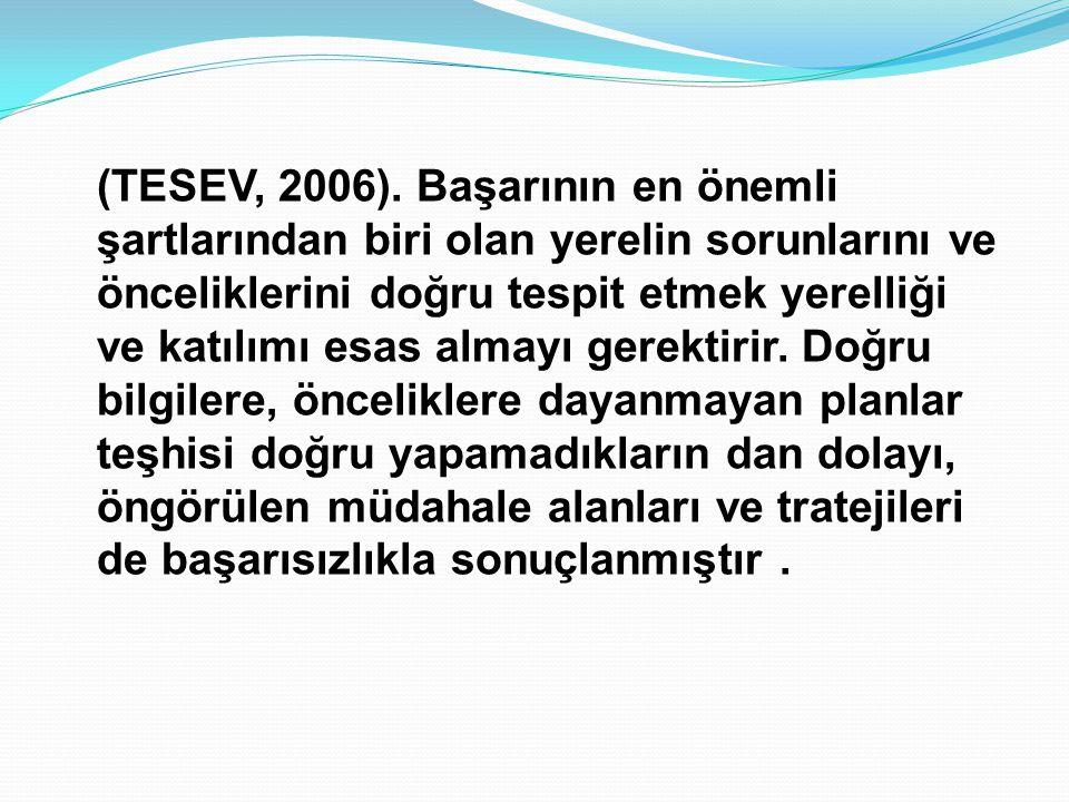 (TESEV, 2006). Başarının en önemli şartlarından biri olan yerelin sorunlarını ve önceliklerini doğru tespit etmek yerelliği ve katılımı esas almayı ge