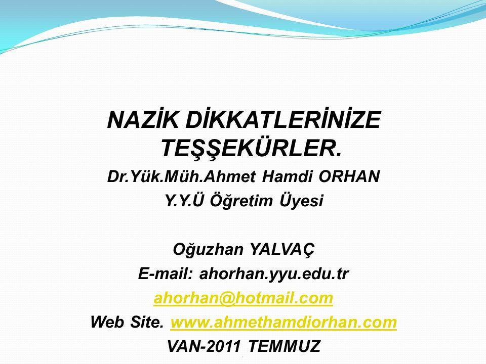NAZİK DİKKATLERİNİZE TEŞŞEKÜRLER. Dr.Yük.Müh.Ahmet Hamdi ORHAN Y.Y.Ü Öğretim Üyesi Oğuzhan YALVAÇ E-mail: ahorhan.yyu.edu.tr ahorhan@hotmail.com Web S