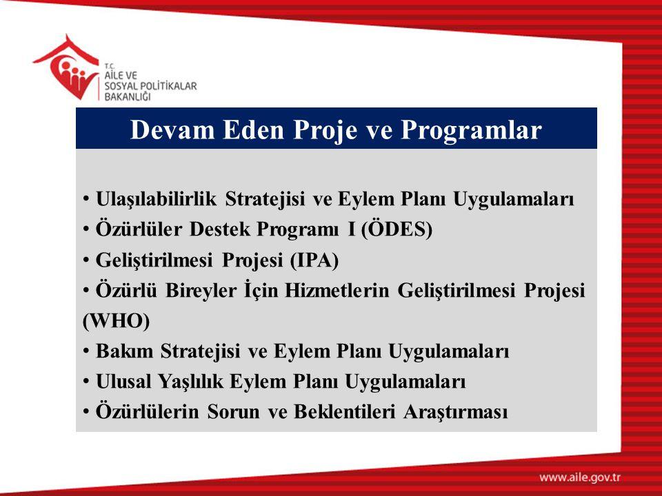 Devam Eden Proje ve Programlar • Ulaşılabilirlik Stratejisi ve Eylem Planı Uygulamaları • Özürlüler Destek Programı I (ÖDES) • Geliştirilmesi Projesi