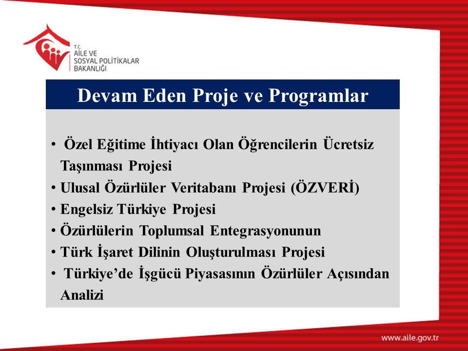 Devam Eden Proje ve Programlar • Özel Eğitime İhtiyacı Olan Öğrencilerin Ücretsiz Taşınması Projesi • Ulusal Özürlüler Veritabanı Projesi (ÖZVERİ) • E