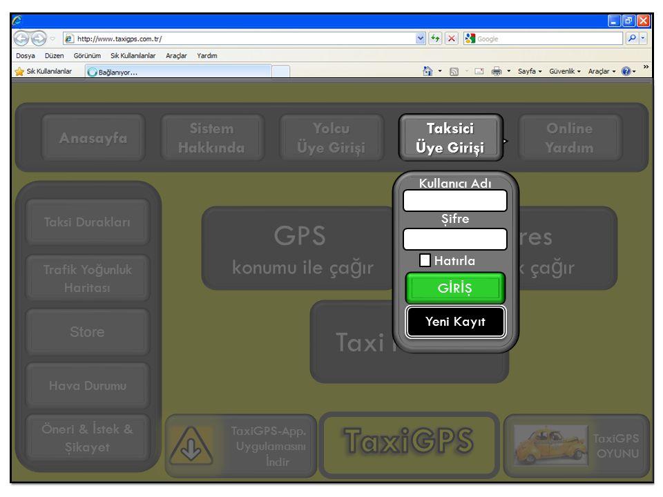 GPS konumu ile ça ğ ır Adres girerek ça ğ ır Online Yardım Yolcu Üye Girişi Sistem Hakkında Anasayfa Trafik Yo ğ unluk Haritası TaxiGPS-App.