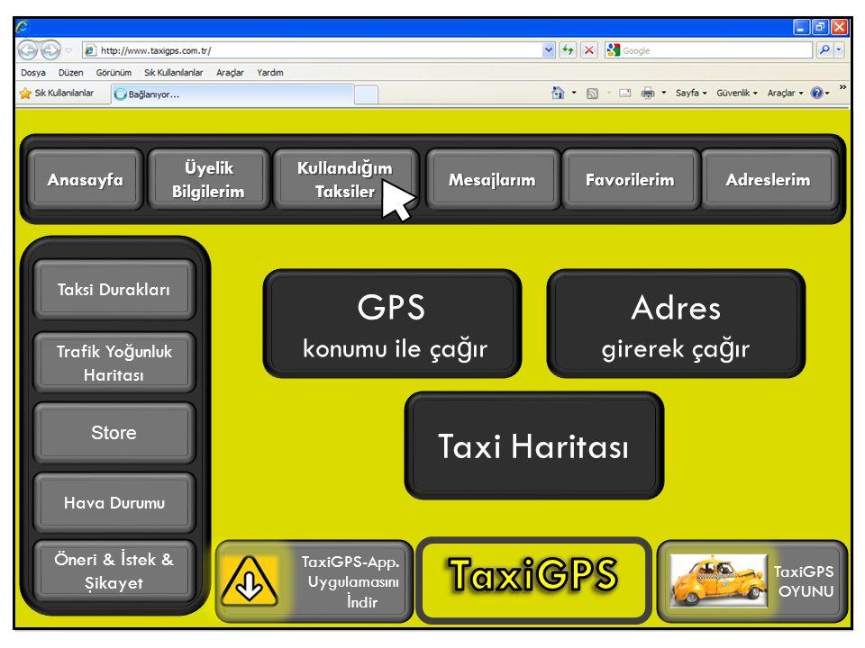 GPS konumu ile ça ğ ır Adres girerek ça ğ ır Adreslerim Üyelik Bilgilerim Anasayfa Trafik Yo ğ unluk Haritası TaxiGPS-App.