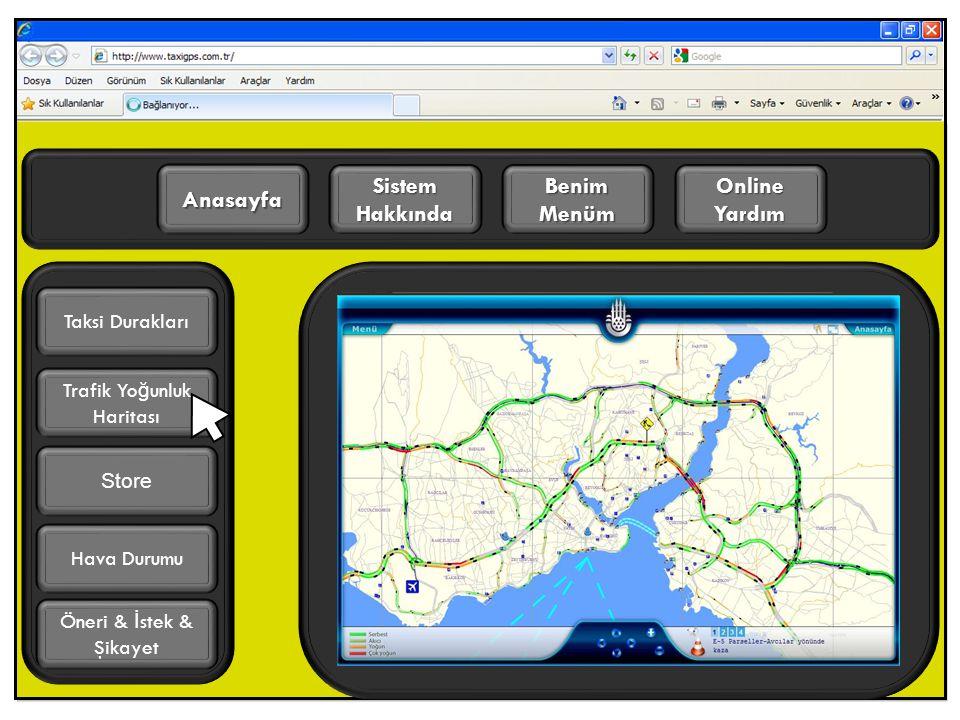 Online Yardım Benim Menüm Sistem Hakkında Anasayfa Trafik Yo ğ unluk Haritası Öneri & İ stek & Şikayet Taksi Durakları Hava Durumu Store