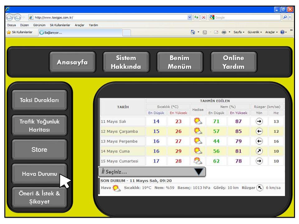 Online Yardım Benim Menüm Sistem Hakkında Anasayfa Trafik Yo ğ unluk Haritası Öneri & İ stek & Şikayet Taksi Durakları Hava Durumu Store İ l Seçiniz…