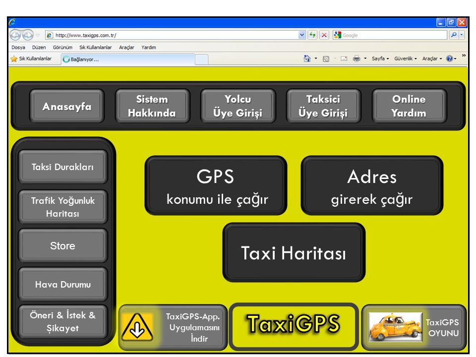 GPS konumu ile ça ğ ır Adres girerek ça ğ ır Online Yardım Benim Menüm Sistem Hakkında Anasayfa Trafik Yo ğ unluk Haritası TaxiGPS-App.