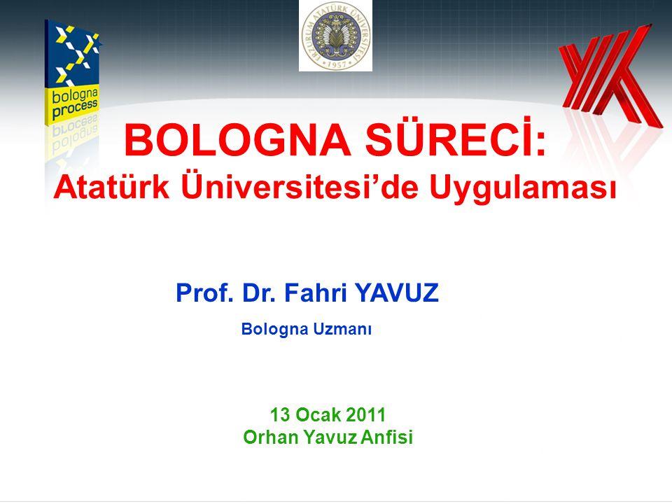 BOLOGNA SÜRECİ: Atatürk Üniversitesi'de Uygulaması Prof.