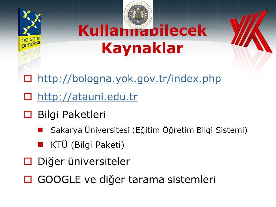 Kullanılabilecek Kaynaklar  http://bologna.yok.gov.tr/index.php http://bologna.yok.gov.tr/index.php  http://atauni.edu.tr http://atauni.edu.tr  Bilgi Paketleri  Sakarya Üniversitesi (Eğitim Öğretim Bilgi Sistemi)  KTÜ (Bilgi Paketi)  Diğer üniversiteler  GOOGLE ve diğer tarama sistemleri