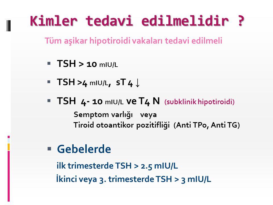 Kimler tedavi edilmelidir ?  TSH > 10 mIU/L  TSH >4 mIU/L, sT 4 ↓  TSH 4- 10 mIU/L ve T4 N (subklinik hipotiroidi) Semptom varlığı veya Tiroid otoa