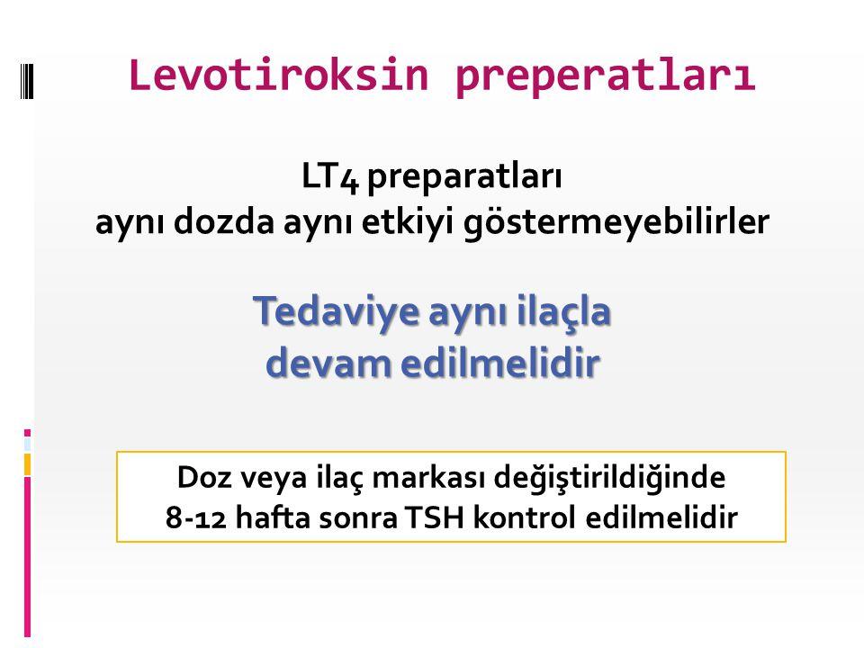 Levotiroksin preperatları Doz veya ilaç markası değiştirildiğinde 8-12 hafta sonra TSH kontrol edilmelidir LT4 preparatları aynı dozda aynı etkiyi gös