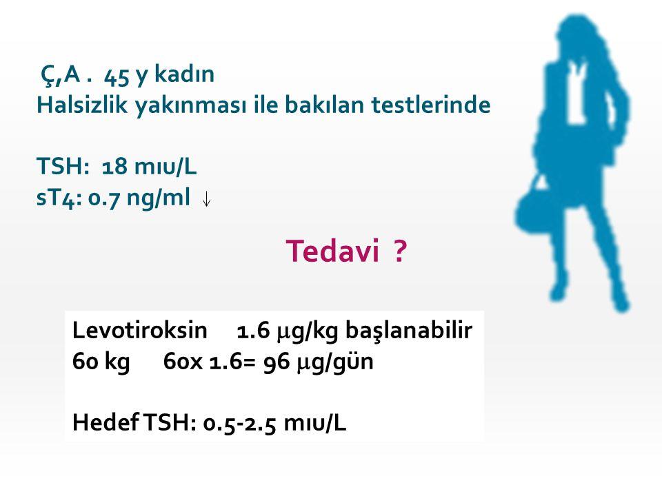Ç,A. 45 y kadın Halsizlik yakınması ile bakılan testlerinde TSH: 18 mıu/L sT4: 0.7 ng/ml Tedavi ? Levotiroksin 1.6  g/kg başlanabilir 60 kg 60x 1.6=