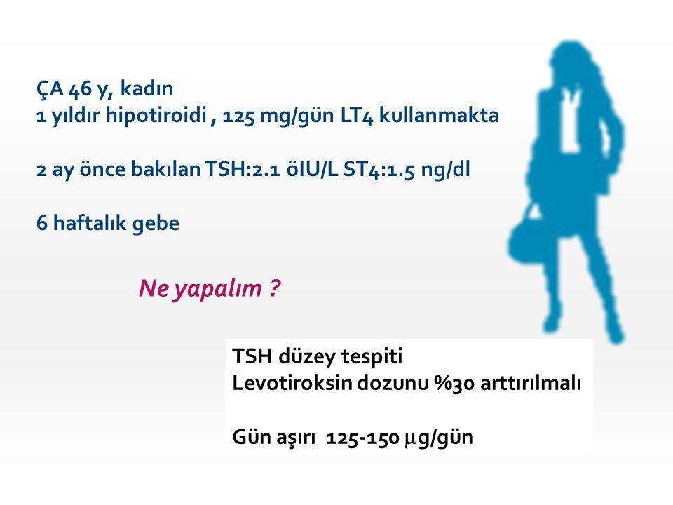 Ne yapalım ? ÇA 46 y, kadın 1 yıldır hipotiroidi, 125 mg/gün LT4 kullanmakta 2 ay önce bakılan TSH:2.1 öIU/L ST4:1.5 ng/dl 6 haftalık gebe TSH düzey t