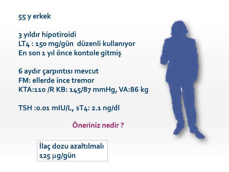 55 y erkek 3 yıldır hipotiroidi LT4 : 150 mg/gün düzenli kullanıyor En son 1 yıl önce kontole gitmiş 6 aydır çarpıntısı mevcut FM: ellerde ince tremor