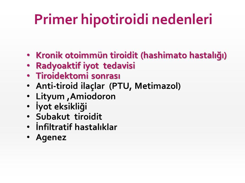 • Kronik otoimmün tiroidit (hashimato hastalığı) • Radyoaktif iyot tedavisi • Tiroidektomi sonrası • Anti-tiroid ilaçlar (PTU, Metimazol) • Lityum,Ami