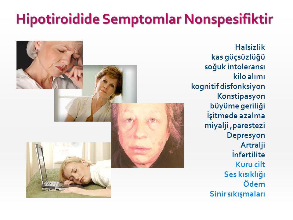 Hipotiroidide Semptomlar Nonspesifiktir Halsizlik kas güçsüzlüğü soğuk intoleransı kilo alımı kognitif disfonksiyon Konstipasyon büyüme geriliği İşitm