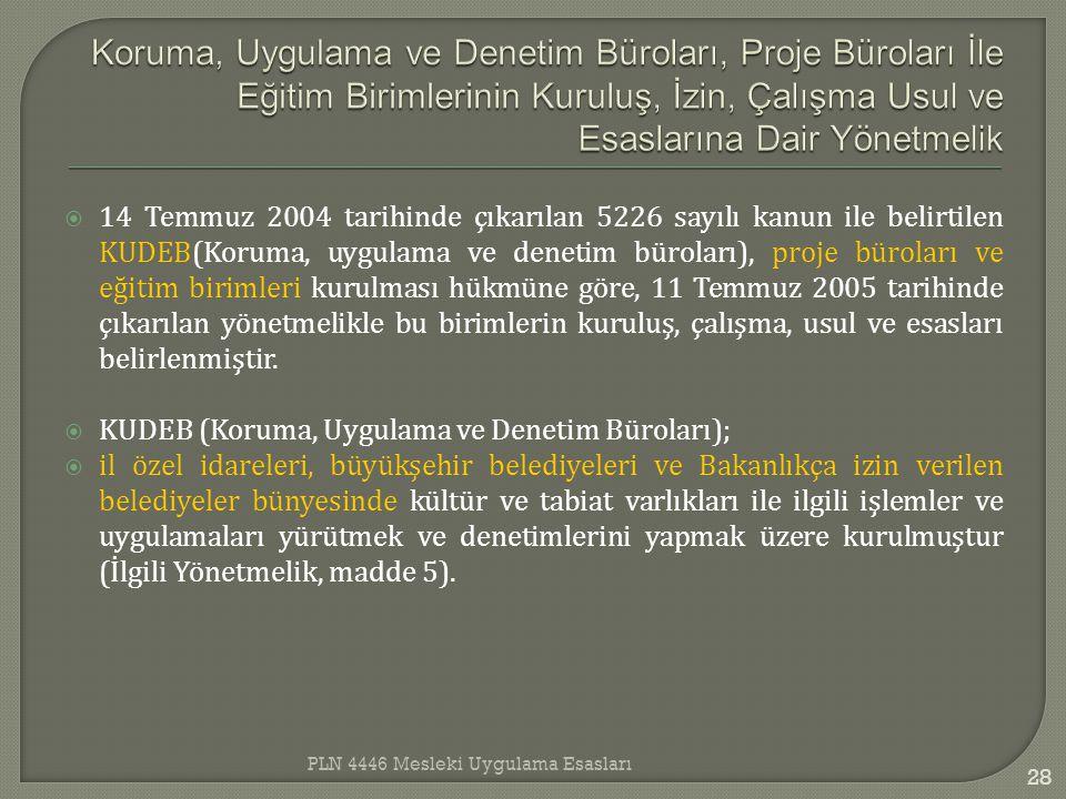  14 Temmuz 2004 tarihinde çıkarılan 5226 sayılı kanun ile belirtilen KUDEB(Koruma, uygulama ve denetim büroları), proje büroları ve eğitim birimleri