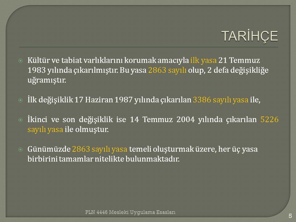  Kültür ve tabiat varlıklarını korumak amacıyla ilk yasa 21 Temmuz 1983 yılında çıkarılmıştır. Bu yasa 2863 sayılı olup, 2 defa değişikliğe uğramıştı