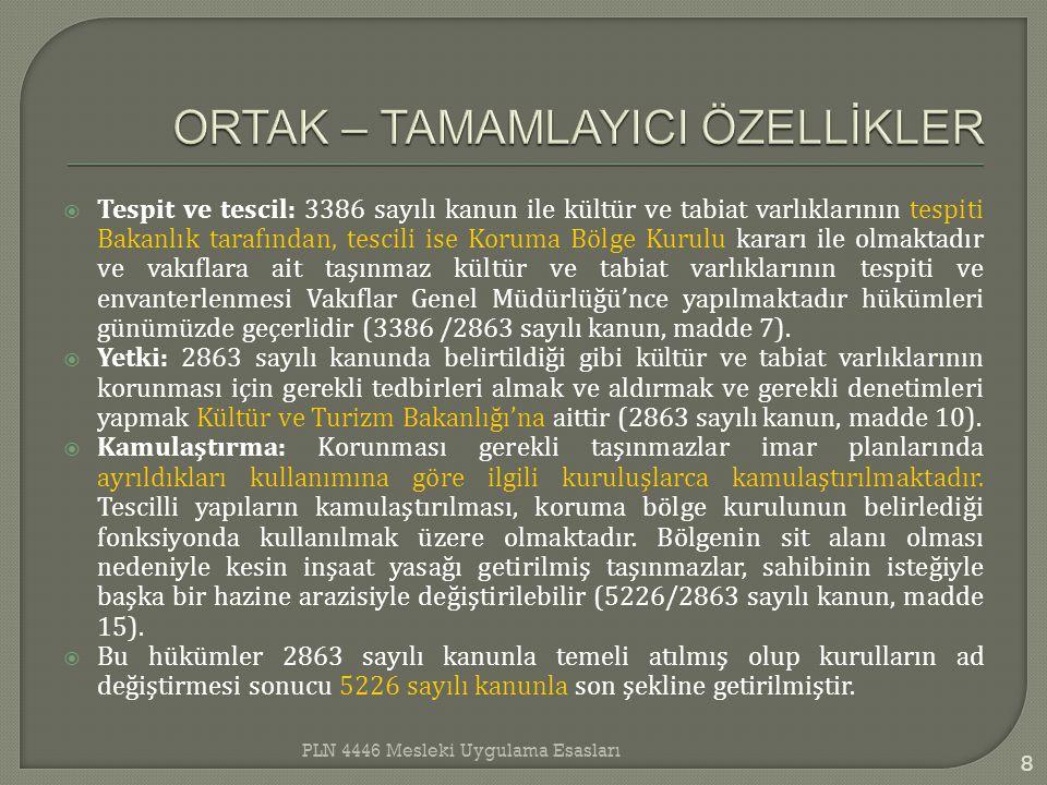  Tespit ve tescil: 3386 sayılı kanun ile kültür ve tabiat varlıklarının tespiti Bakanlık tarafından, tescili ise Koruma Bölge Kurulu kararı ile olmak