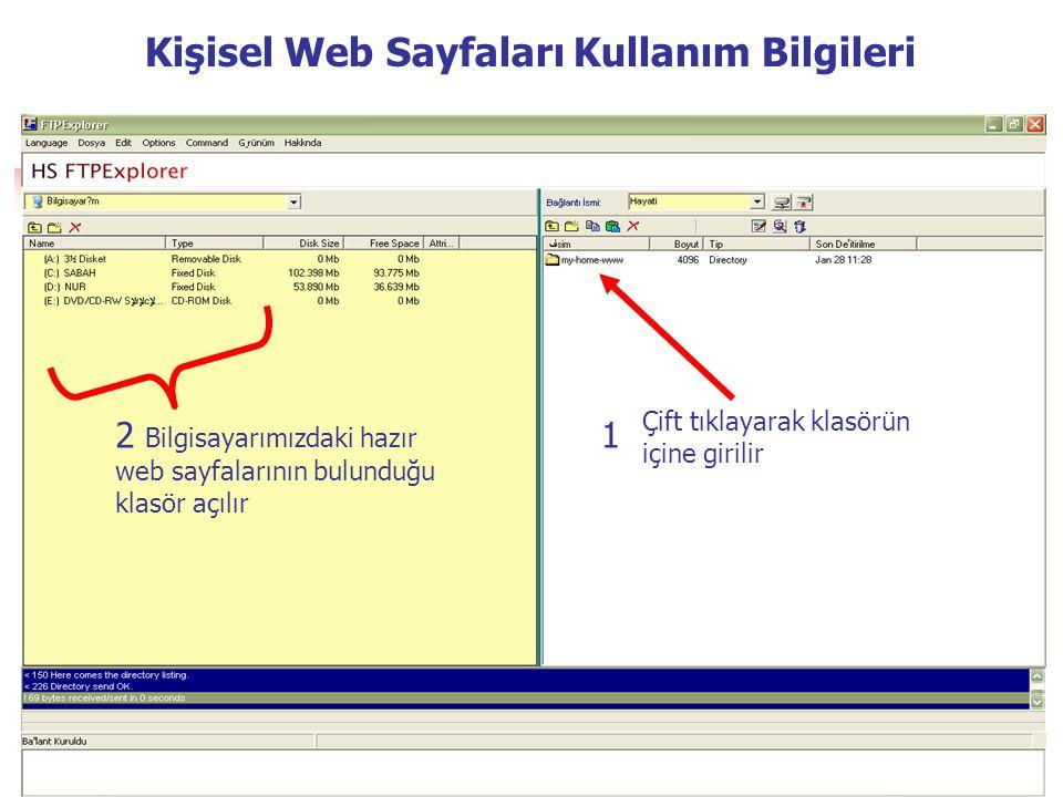 Çift tıklayarak klasörün içine girilir 12 Bilgisayarımızdaki hazır web sayfalarının bulunduğu klasör açılır