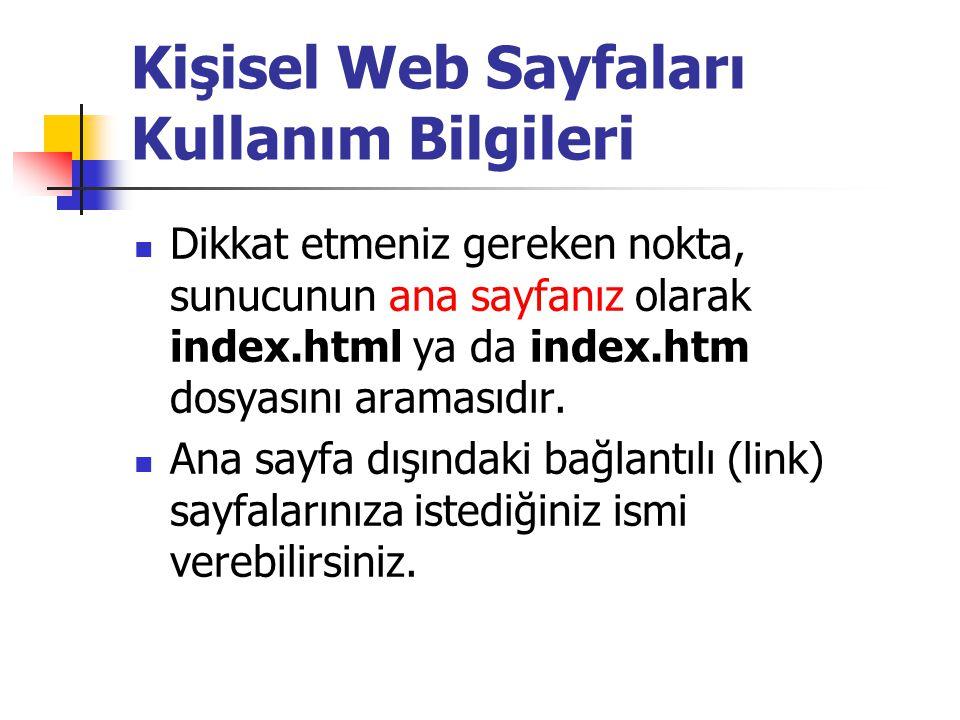  Dikkat etmeniz gereken nokta, sunucunun ana sayfanız olarak index.html ya da index.htm dosyasını aramasıdır.  Ana sayfa dışındaki bağlantılı (link)