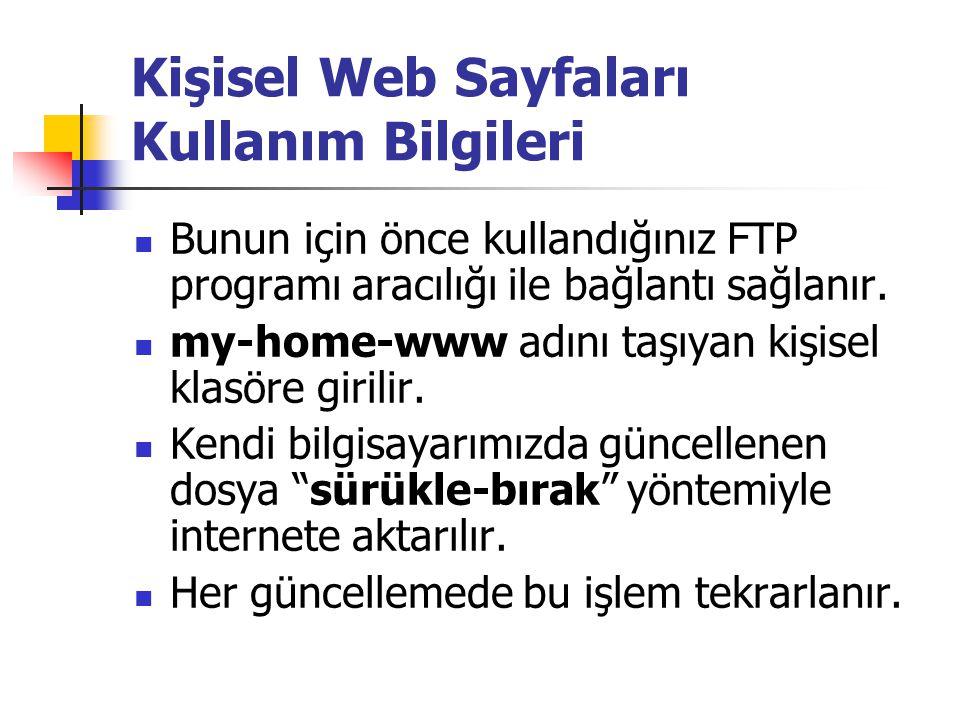  Bunun için önce kullandığınız FTP programı aracılığı ile bağlantı sağlanır.  my-home-www adını taşıyan kişisel klasöre girilir.  Kendi bilgisayarı