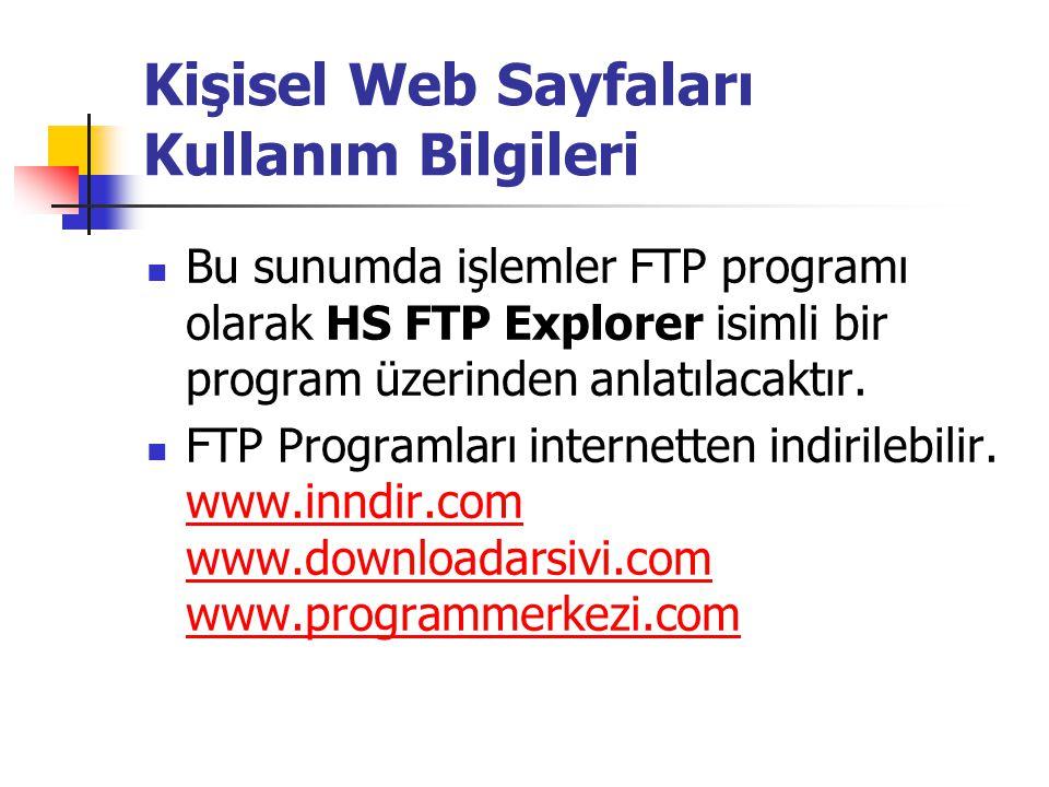  Bu sunumda işlemler FTP programı olarak HS FTP Explorer isimli bir program üzerinden anlatılacaktır.  FTP Programları internetten indirilebilir. ww