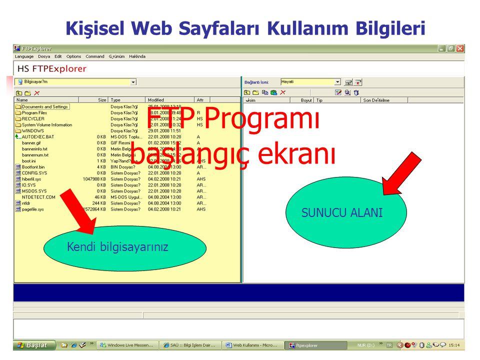 FTP Programı başlangıç ekranı Kendi bilgisayarınız SUNUCU ALANI