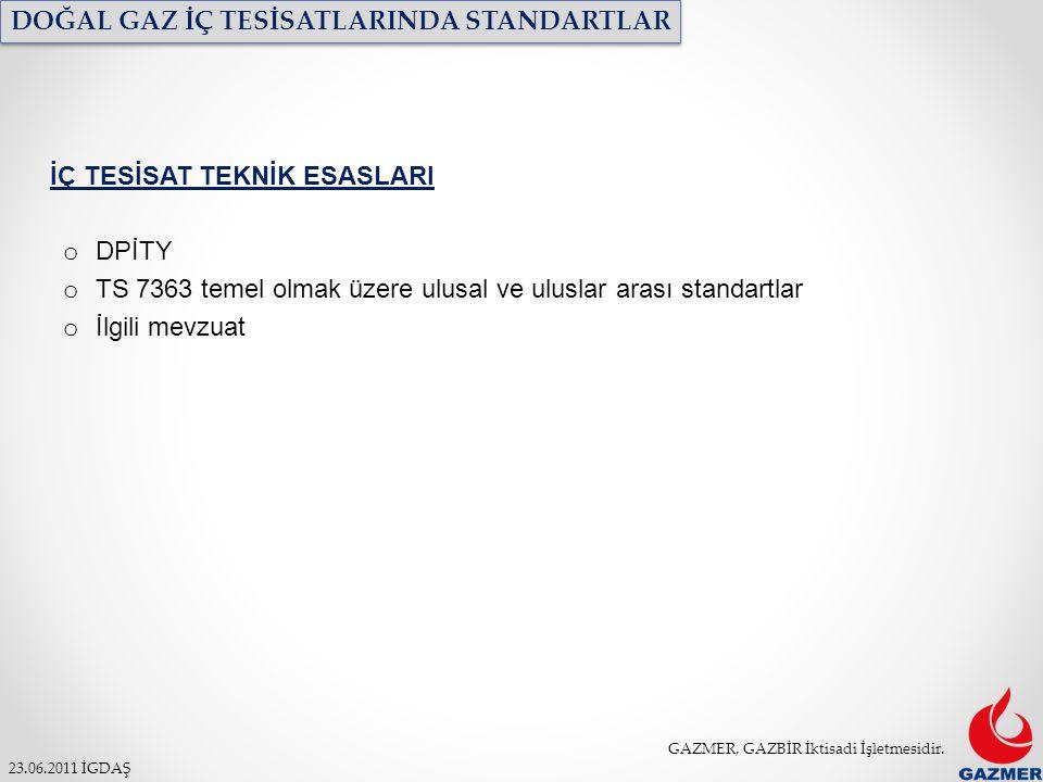 GAZMER, GAZBİR İktisadi İşletmesidir. 23.06.2011 İGDAŞ DOĞAL GAZ İÇ TESİSATLARINDA STANDARTLAR İÇ TESİSAT TEKNİK ESASLARI o DPİTY o TS 7363 temel olma