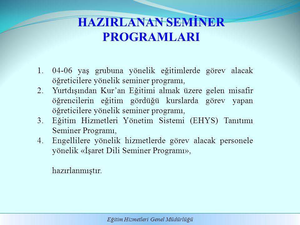 Eğitim Hizmetleri Genel Müdürlüğü HAZIRLANAN SEMİNER PROGRAMLARI 1.04-06 yaş grubuna yönelik eğitimlerde görev alacak öğreticilere yönelik seminer pro