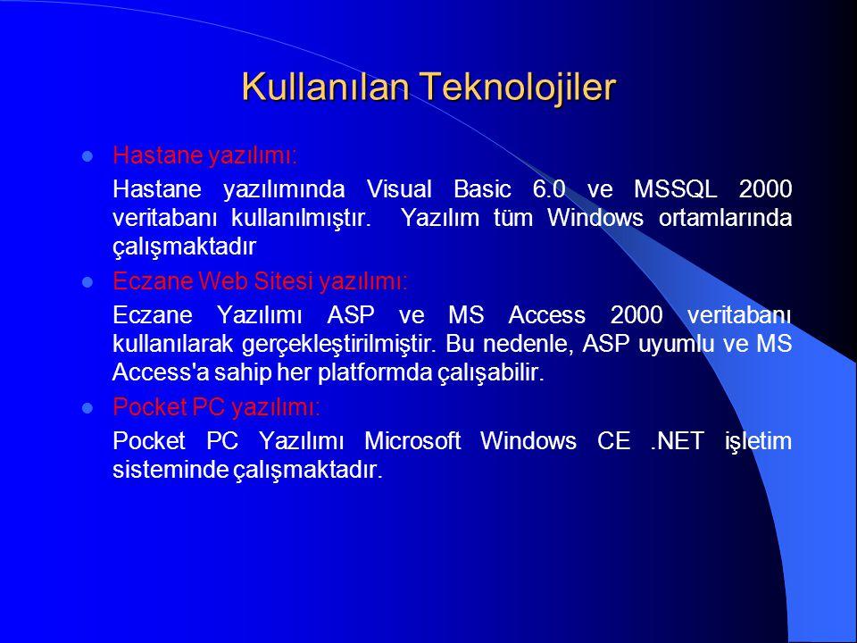 Kullanılan Teknolojiler  Hastane yazılımı: Hastane yazılımında Visual Basic 6.0 ve MSSQL 2000 veritabanı kullanılmıştır. Yazılım tüm Windows ortamlar