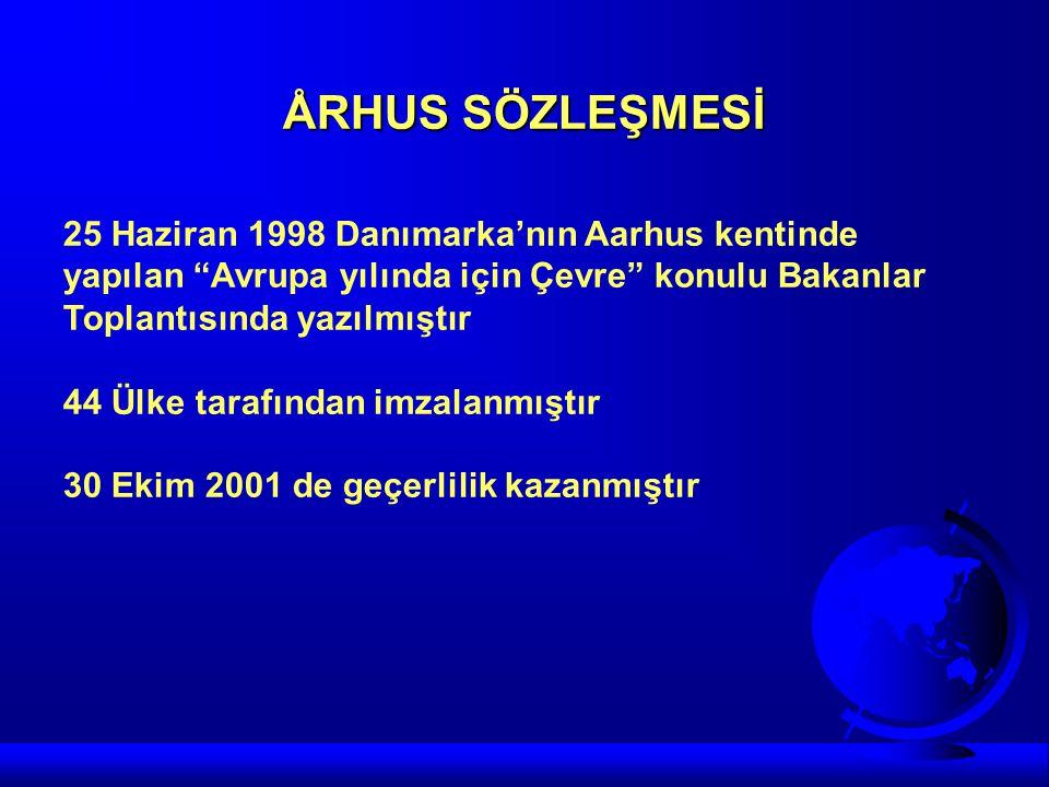 """ÅRHUS SÖZLEŞMESİ 25 Haziran 1998 Danımarka'nın Aarhus kentinde yapılan """"Avrupa yılında için Çevre"""" konulu Bakanlar Toplantısında yazılmıştır 44 Ülke t"""
