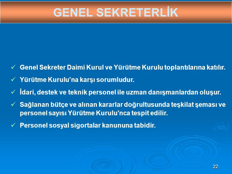 22 GENEL SEKRETERLİK  Genel Sekreter Daimi Kurul ve Yürütme Kurulu toplantılarına katılır.