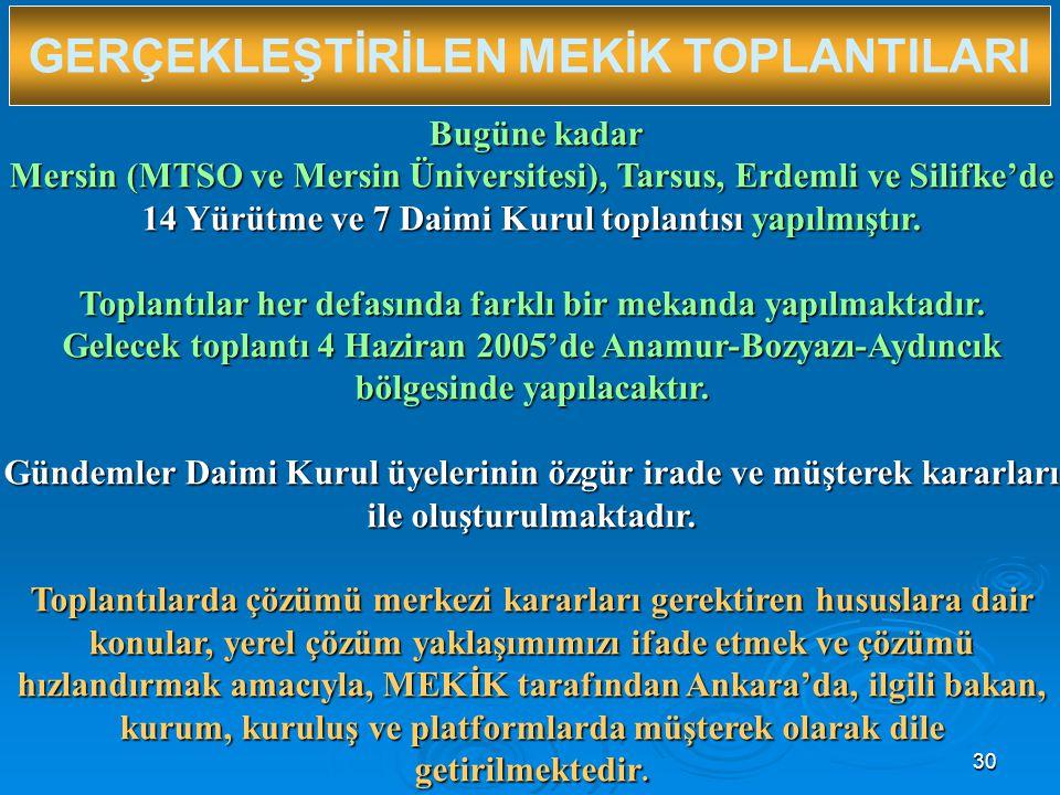 30 GERÇEKLEŞTİRİLEN MEKİK TOPLANTILARI Bugüne kadar Bugüne kadar Mersin (MTSO ve Mersin Üniversitesi), Tarsus, Erdemli ve Silifke'de 14 Yürütme ve 7 Daimi Kurul toplantısı yapılmıştır.