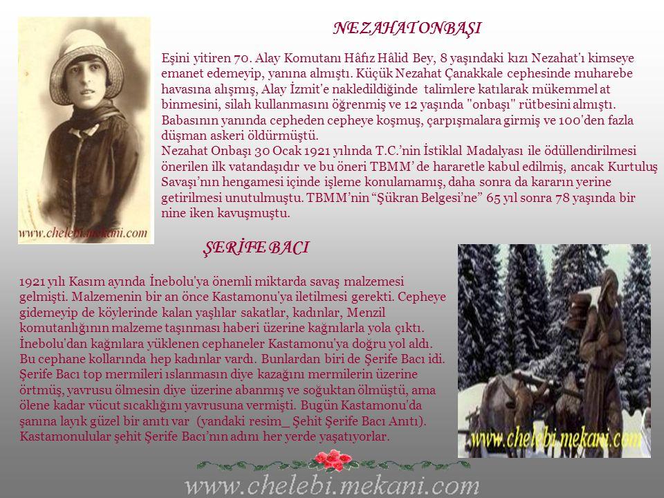 NENE HATUN 1857-1955 Erzurum'un Pasinler ilçesine bağlı Çeperler Köyü'nde dünyaya gelen Nene Hatun,henüz 20 yaşında bir gelinken 1877-1878 yılları arasında yapılan Türk-Rus Savaşı'nda (93 Harbi) Aziziye Tabyası'nı sopayla,taşla, kazma, kürekle savunanlara katılarak cesurca savaştı.Daha sonra oğlunu Çanakkale Savaşı'nda şehit verdi.
