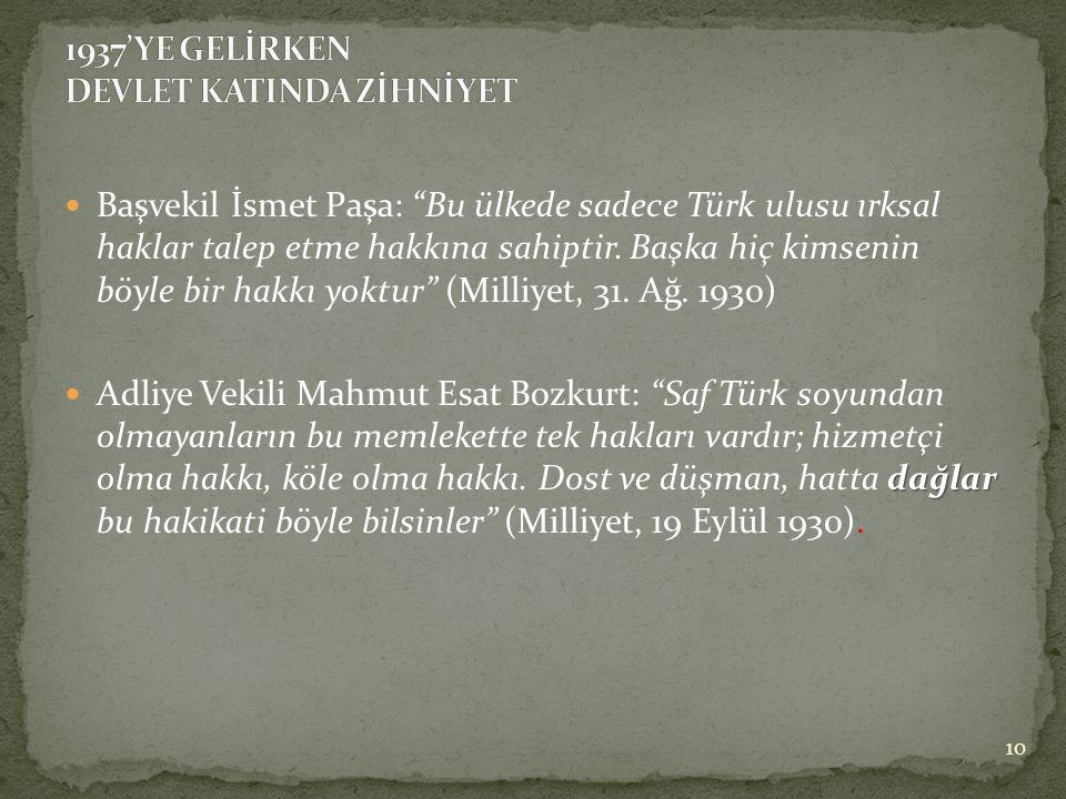  Başvekil İsmet Paşa: Bu ülkede sadece Türk ulusu ırksal haklar talep etme hakkına sahiptir.