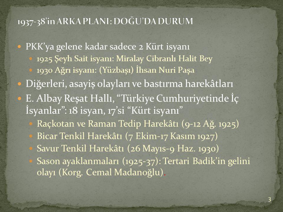  PKK'ya gelene kadar sadece 2 Kürt isyanı  1925 Şeyh Sait isyanı: Miralay Cibranlı Halit Bey  1930 Ağrı isyanı: (Yüzbaşı) İhsan Nuri Paşa  Diğerleri, asayiş olayları ve bastırma harekâtları  E.