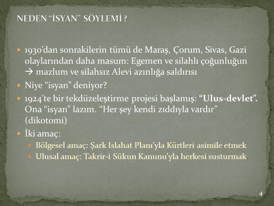 1930'dan sonrakilerin tümü de Maraş, Çorum, Sivas, Gazi olaylarından daha masum: Egemen ve silahlı çoğunluğun  mazlum ve silahsız Alevi azınlığa saldırısı  Niye isyan deniyor.