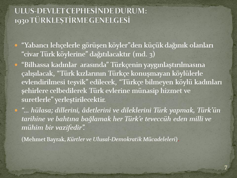  Yabancı lehçelerle görüşen köyler den küçük dağınık olanları civar Türk köylerine dağıtılacaktır (md.
