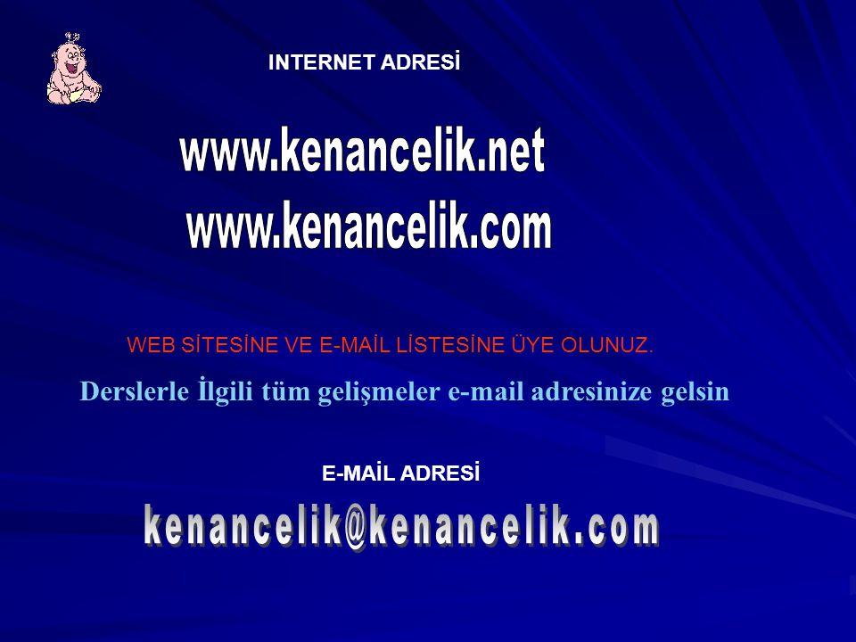 E-MAİL ADRESİ INTERNET ADRESİ WEB SİTESİNE VE E-MAİL LİSTESİNE ÜYE OLUNUZ.